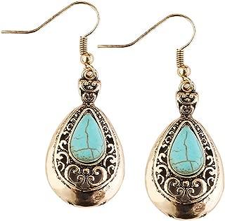Prettyia Vintage Turquoise Earrings Ear Hook Women Wedding Dangle Drop Jewelry