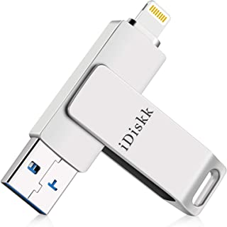 iDiskk (MFi Certified by Apple) 128GB Photo Stick for iPhone USB Flash Drive for iPhone12/12 mini/12 pro/11/11 pro/XR/X/XS/SE/8,for iPad,MacBook and PC photo Storage for iOS 14 and Touch ID Encryption