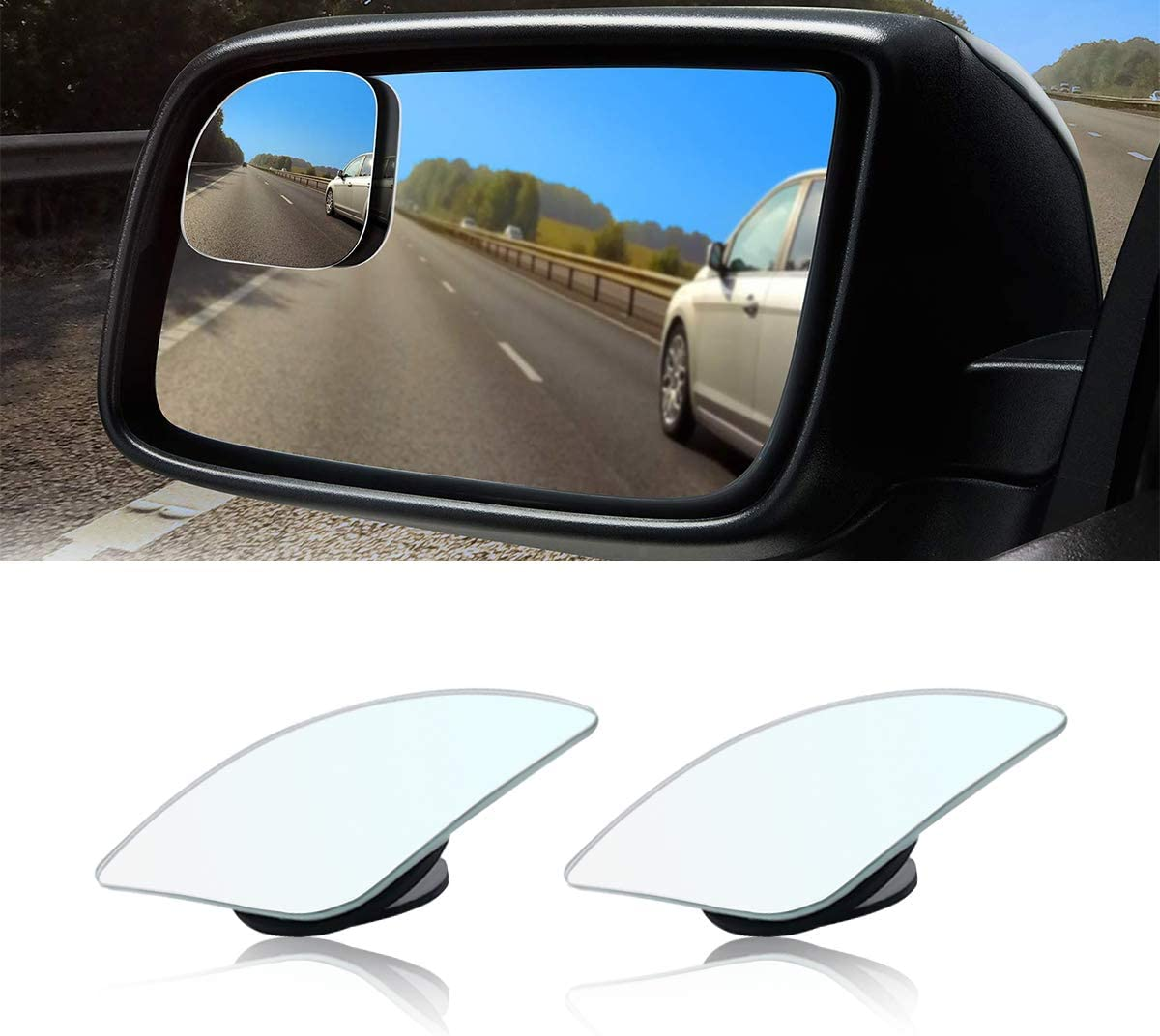 Car Blind Spot Mirror, Fan Shaped HD Glass Frameless Stick on Adjustabe Few Convex Wide Angle Rear View Mirror for Car Blind Spot, Pack of 2