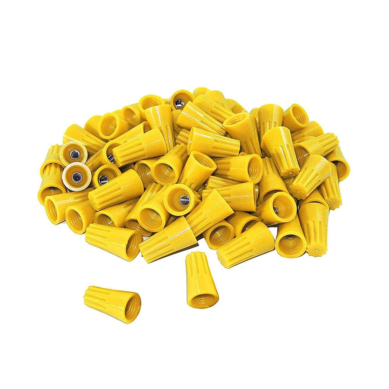 50Pcs twist on wire connectors - Yellow #14 - #16 AWG Wire nut Bulk with Spring inserted, easy Screw on electrical caps