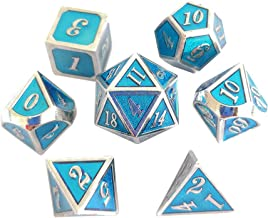 YH Poker 7PCS Metal Dice Set D&D Dice D20 D12 D10 D8 D6 D4 for Dungeons and Dragons DND RPG MTG Table Games-Glossy Enamel Dice