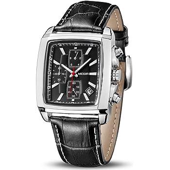 MEGIR Men's Business Analog Chronograph Luminous Rectangle Quartz Watch with Stylish Leather Strap for Sport & Work