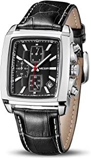 Men's Business Analog Chronograph Luminous Rectangle Quartz Watch with Stylish Leather Strap for Sport & Work