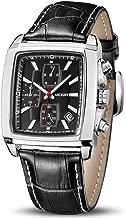 MEGIR Men's Business Analog Fashion Casual Chronograph Rectangular Luminous Quartz Wrist Watch with Leather Strap for Work & Sports