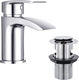 Funime Bathroom Basin Taps Mixer Mono Chrome Brass Single Hole with Pop up Waste, DT11H