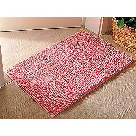 Alfombras de Baño, Alfombrilla de Baño Antideslizante Microfibra Suave Alfombra Lavar a Maquina Adecuado para Sala de Estar/Cocina/Dormitorio de Interior/Exterior (Rosa)