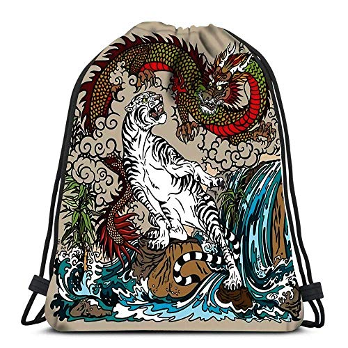 JDHFJ Bolsa con cordón Gym Drawstring Bags Green Chinese Dragon and White Tiger in The Landscape with Waterfall Rocks Plants Clouds Sport Storage Polyester Bag for Gym