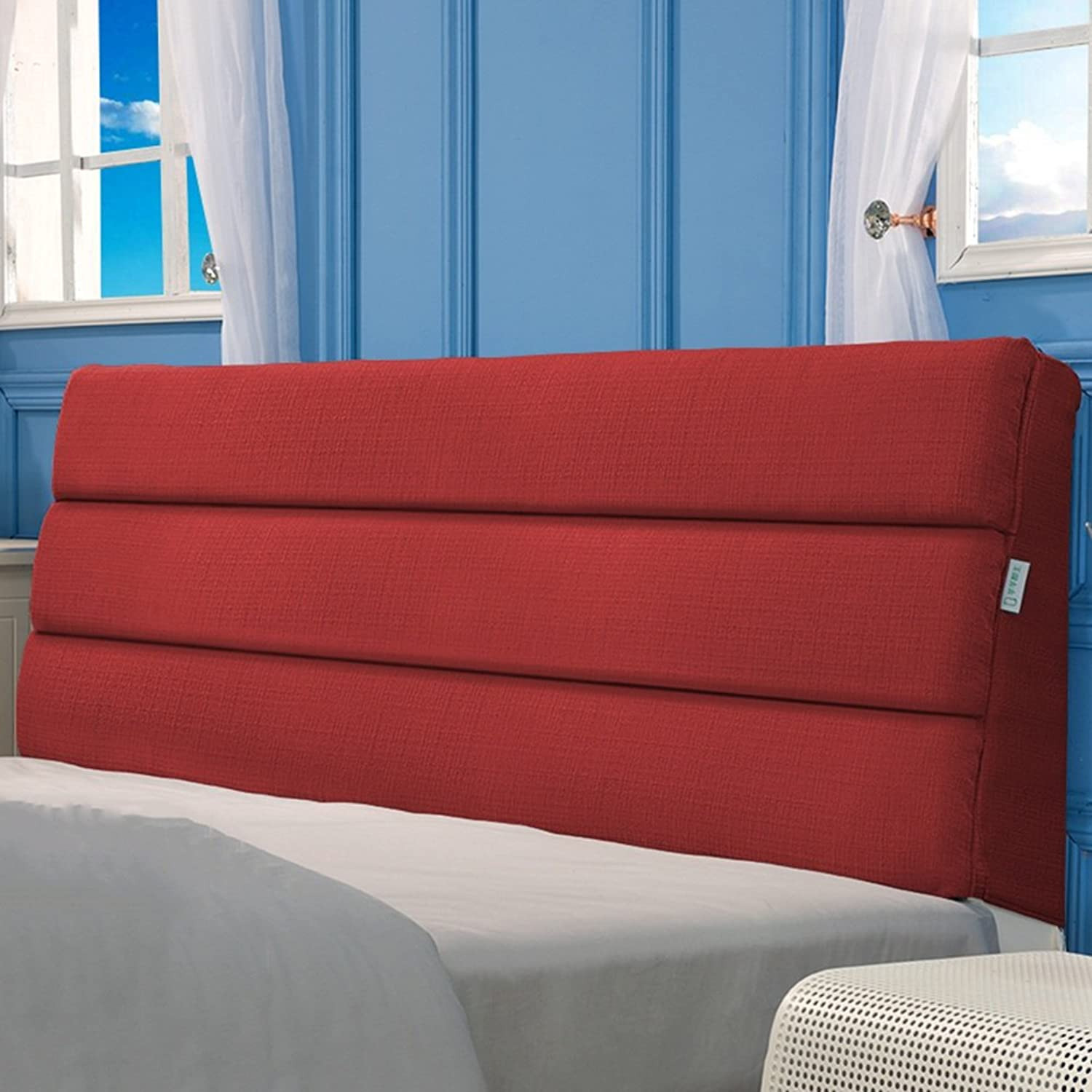 WENZHE Upholstered Fabric Headboard Bedside Cushion Pads Cover Bed Wedges Backrest Waist Pad Cloth Art Soft Case Bed Cover Home Bedroom Large Back Sofa Pillow Washable Multifunction, There Are Headboards, Not Deformed, 6 colors, 9 Sizes Optional ( color