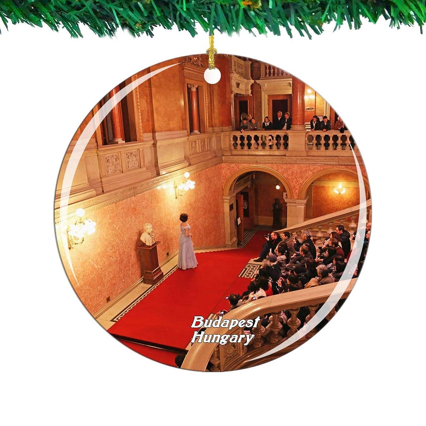 バンジョーかりて美徳Weekino ハンガリーハンガリー国立歌劇場ブダペストクリスマスオーナメントシティ旅行お土産コレクション両面 磁器2.85インチ ぶら下がっている木の装飾