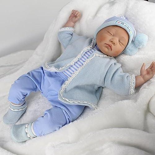 Reborn Baby Puppe Weiße Simulation Silikon Tuch   Vinyl Magnetische Mund Lebensechte Augen Geschlossene Junge mädchen Spielzeug Festival Geschenke 22 Zoll 55cm HGLY