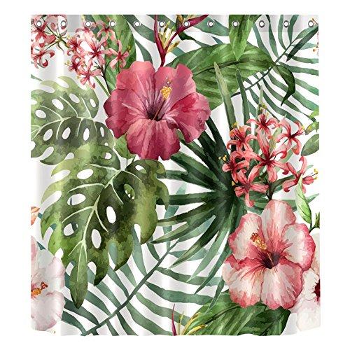 Tropisches Palmblatt wasserdicht Bade-Duschvorhänge, Bananen blätter Polyester Bad Vorhang Dekor, 63, 180x200