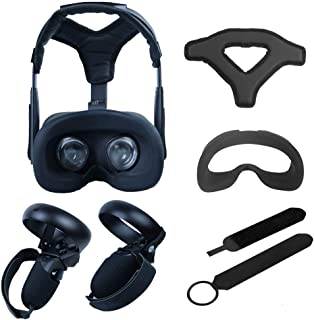 VR Accessories ,Head Cushion & Face Cover & Touch Controller Grip Cover & Knuckle Strap & Lens Protect Cover Set for Oculu...