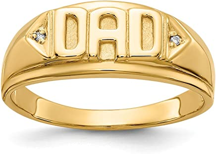 14k Yellow Gold Diamond Mens Band Ring Size 10.00 Man Dad Fine Jewelry Gift For Dad Mens For Him