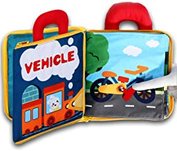 My Quiet Book 10 Scene Learn Sensory Sensory and Identify, 3D Vehicle Cloth Books Soft for Babies, Toddlers, Infant, Washable Felt Activity Fabric Travel Busy Toy Touch and Feel Crinkle Texture