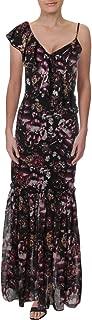Women's Floral Print Draped One Shoulder Ruffle Mermaid Maxi Dress