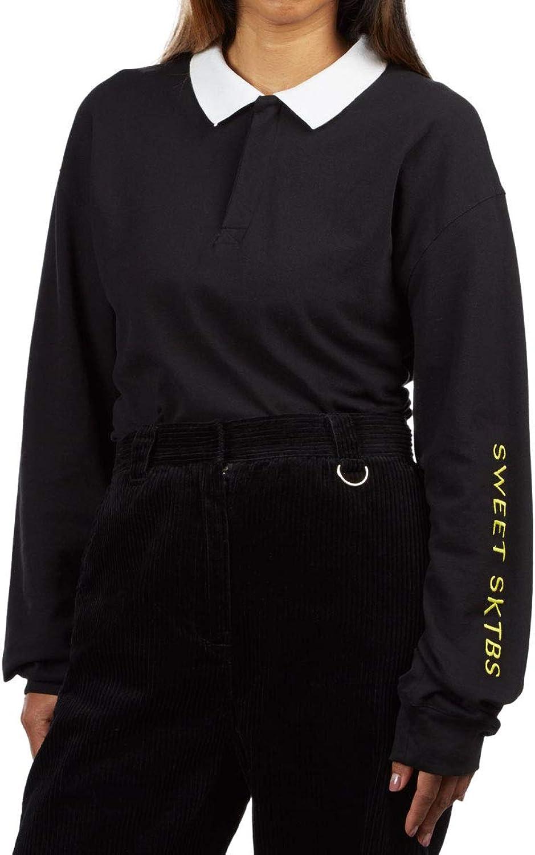 Sweet Womens Loose Pique Polo Long Sleeve TShirt  Black  LG