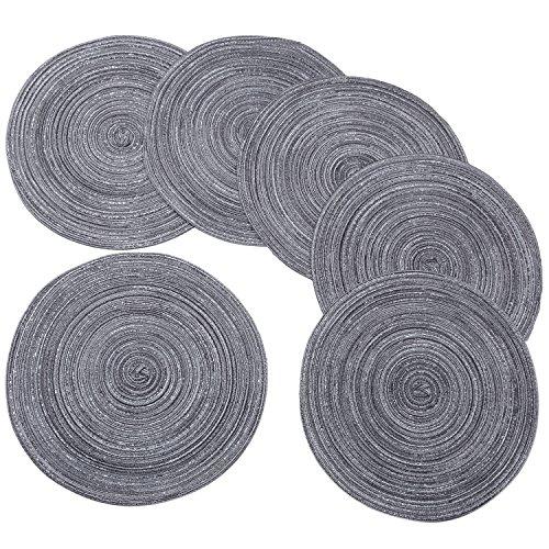 Manteles individuales redondos trenzados/tejidos, para interior/exterior Mantel individual/cargador, alfombrilla de cocina para mesa de comedor lavable, juego de 6, Gris oscuro,...