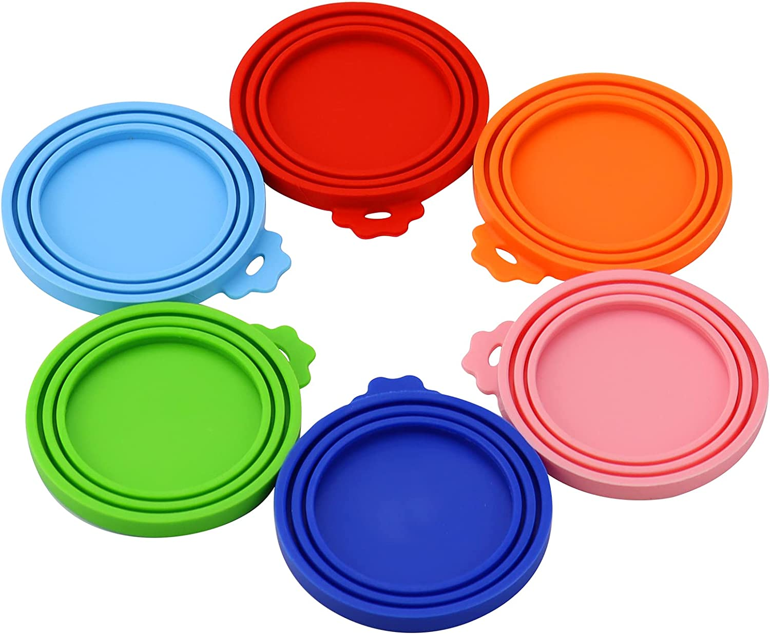 Nanaborn Pet Food Can Lids Silicone for Variety Cat and Dog Small 3-5.5 OZ (One fit 3 Standard Size Food Cans) 6Pcs