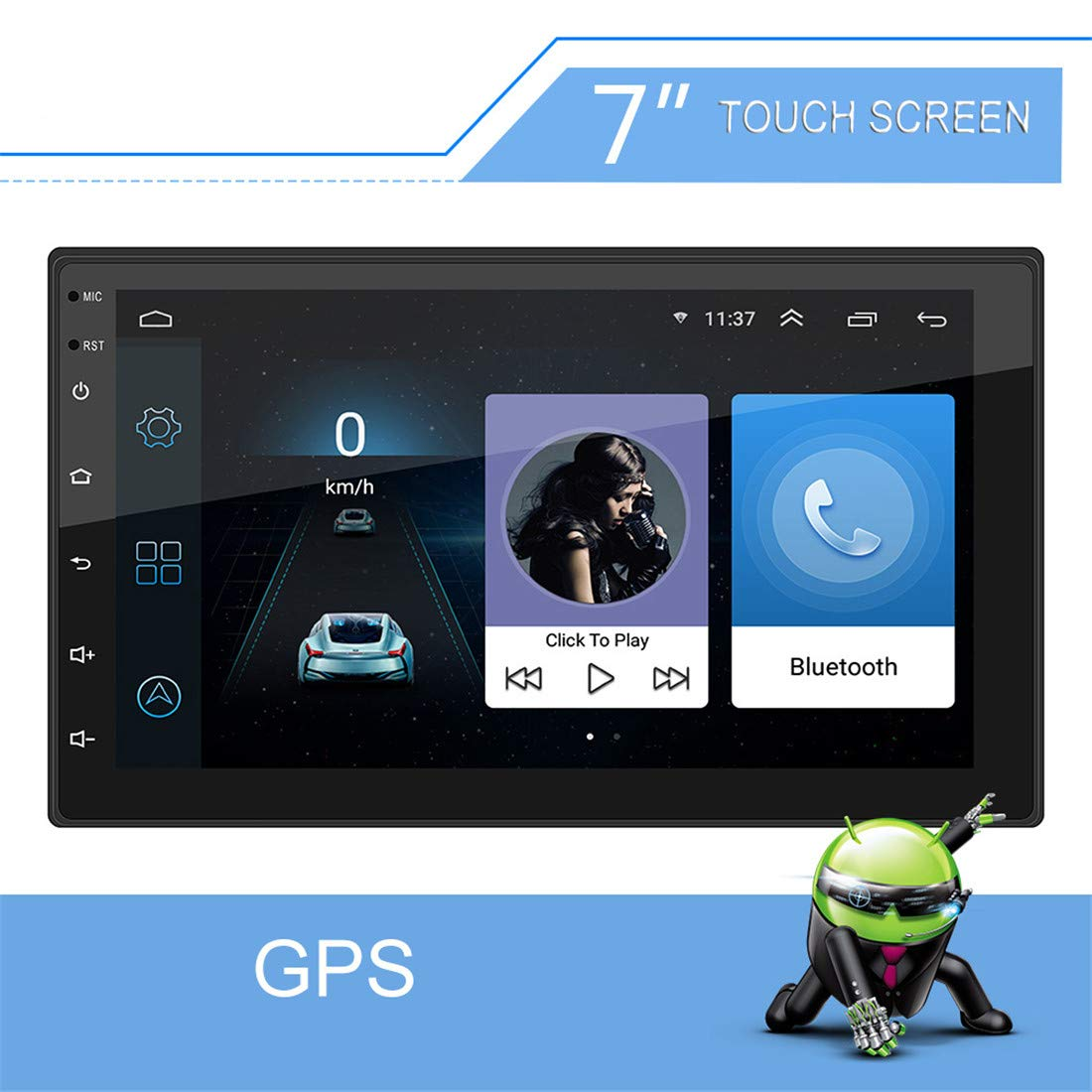 QLPP Android 8.1 estéreo del Coche DVD con GPS Navigation Soporte del Espejo Enlace (Android y iOS), Receptor de Radio FM WiFi AUX USB en la Unidad Principal Dash: Amazon.es: Hogar