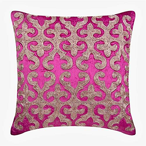 Best Deals! The HomeCentric Decorative Pink Throw Pillow Cover, Square Arabic Pattern 22x22 inch (55...