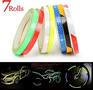 Reflective Tape 7 Roll Safety Tapes Warning Strip Self-Adhesive DIY Decoration Bicycle Wheel Rim Light Reflective Stickers Reflective Wheel Tape Decal Sticker for Bike, Car, Truck, Motorcycle - 8M