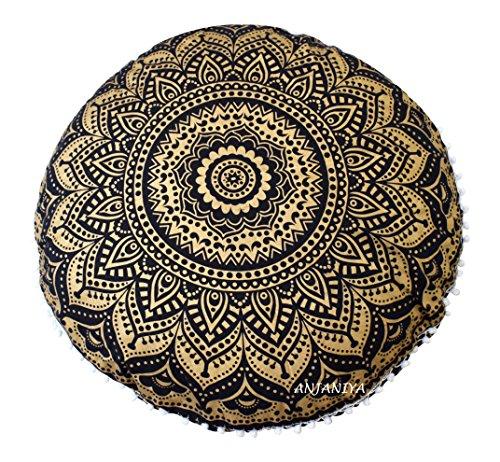 ANJANIYA - Meditationsbänke in Schwarz Gold Ombre, Größe 81.28 cm
