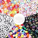 DICOBD 1400pcs Beads Kit Letter Beads Square Alphabet Beads Large Hole Beads for Crafts Jewelry Making Such as Bracelets and Necklaces with 50 Meters Elastic String