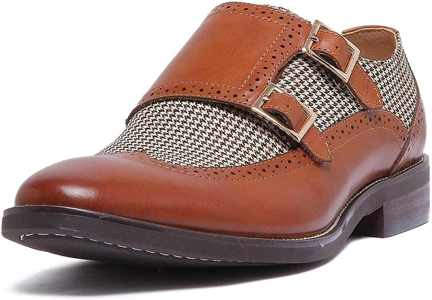 Justin Reece Buckle up Leather Monk shoes with Tweed Detailing Effect and Leather Footbed