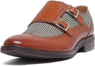 Justin Reece Chaussures à boucle en cuir avec effet tweed et semelle intérieure en cuir.