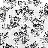 Stoff Meterware Baumwolle weiß schwarz Totenkopf Skulls