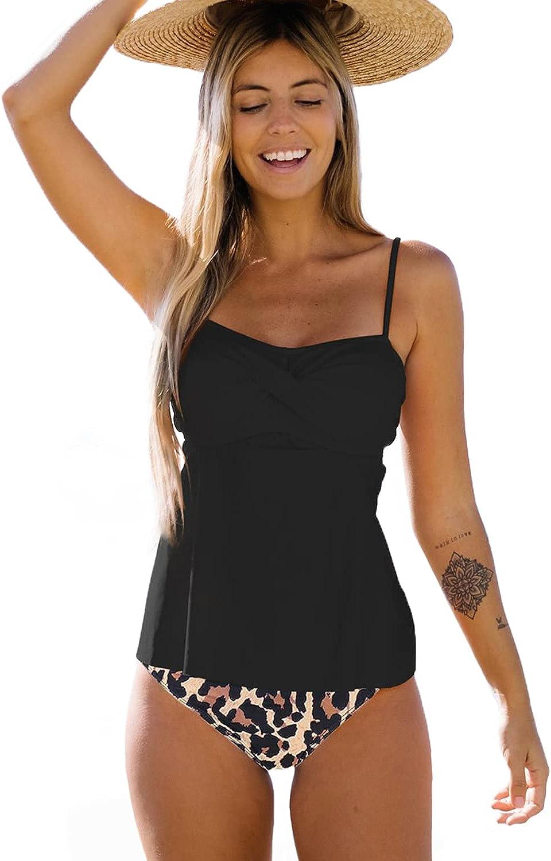 Beachsissi Women Tankini Swimsuit Twist Front Leopard Print 2 Piece Bathing Suit