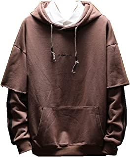 WZXSMDY S-5XL Size Development!Parker Men's Long-Sleeved Sweatshirt Over-Size Couple Jersey Sweatshirt Hooded Pullover Hoodies Autumn Clothing Autumn (Color : Brown, Size : 5XL)