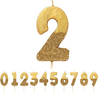 """Talking Tables Number 2 Birthday Candle Cake Topper, Height 8cm, 3"""", Gold"""