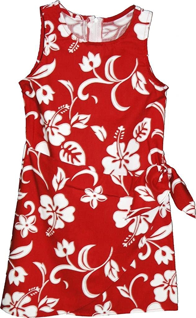 RJC Brand Hibiscus Pareo Girl's Hawaiian Sarong Dress Red 6X