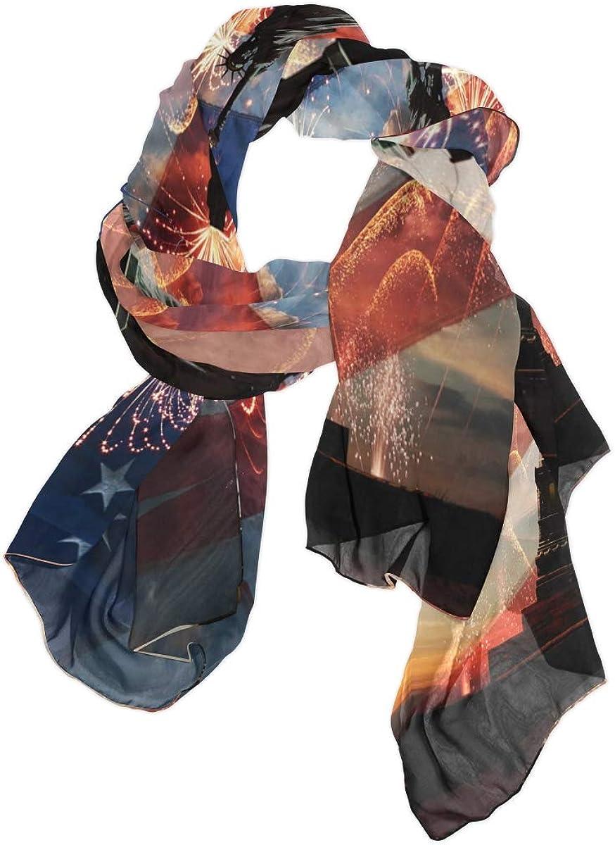 AUUXVA Fashion Scarf American Flag Independence Day Statue Long Lightweight Sunscreen Scarf Shawl Wrap Muffler Neckerchief for Women Men