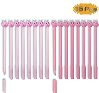 WTSHOP 16PCS 0.38mm Pig Writing Gel Roller Ball Pens for Stationery Office Supplies Back to School Birthday Gift