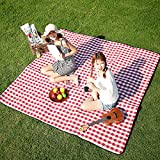 Three Donkeys Extra Large Picnic Blankets 79''x79'', Checkered Picnic Blanket Great for The Beach, Camping on Grass, Waterproof & SandProof(Red and White)