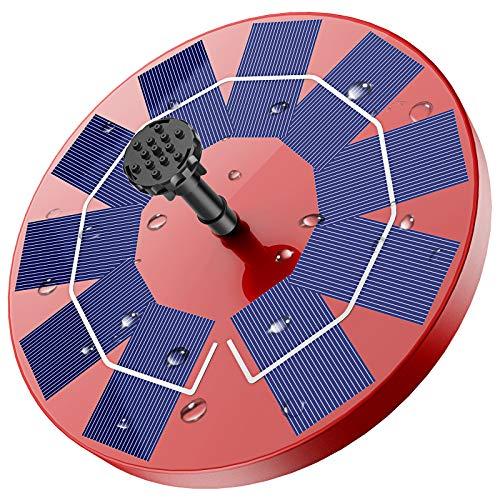 AISITIN Fuente Solar para Estanque, 3.0W Bomba de Agua Solar Red, Batería Incorporada, Solar Fuente con 6 Estilos, para Estanque de Jardín Fuente, Baño para Pájaros, Césped