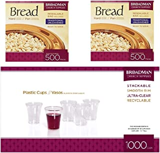 B&H Publishing Group Disposable 1000 count Plastic Cups and 2 count Bread White 5 oz 500 Piece Bundle 3 in 1 Cup and Wafer Set