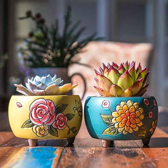 Ceramic Concise Hand Panited Succulent Plants Flower pots removable Desk Decor