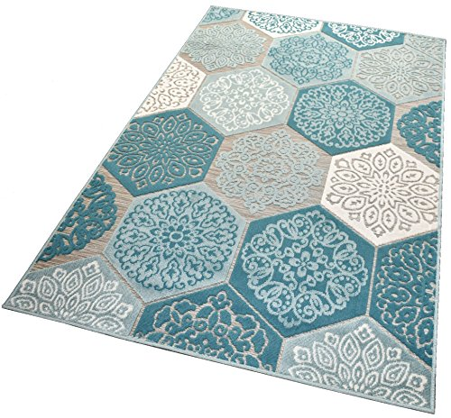 Balta Rugs In- und Outdoor-Teppich Classic Hexagon Tiles Green L 160x230cm für Innen und Außen