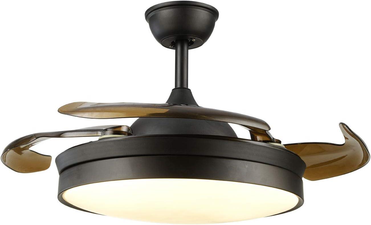 Ventilador de techo con luz LED y mando a distancia, hoja retráctil, moderno ventilador de techo de araña, luz para salón interior, lámpara LED con ventilador