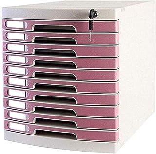 GQQ Armoires de Classement Mobiles Keys Lock Armoire de Stockage de Fichiers de Données À 10 Tiroirs - Multicolore 29.5X39...