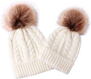 Haokaini, Conjunto de Sombreros para mamá y bebé Kits de Gorro de esquí con Bola y Pompones para bebés y niñas