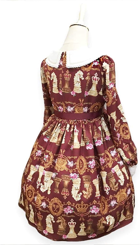 QAQBDBCKL Women Printing Retro Lolita Dress Long Sleeves Lolita Dress