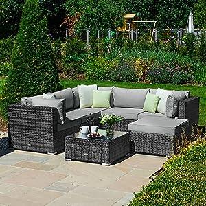 Nova Chelsea Garden Rattan 6 Piece Squared Corner Modular Sofa set Grey