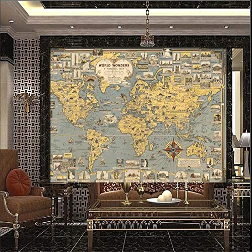 3D muurschildering behang, grote moderne abstract minimalistisch nieuw vintage World Travel Maps afbeeldingen 5D print zijdedoek stof Wall Art Deco voor woonkamer slaapkamer plafond kantoor 300cm(W) x 200cm(H) (9.84 x 6.56) ft
