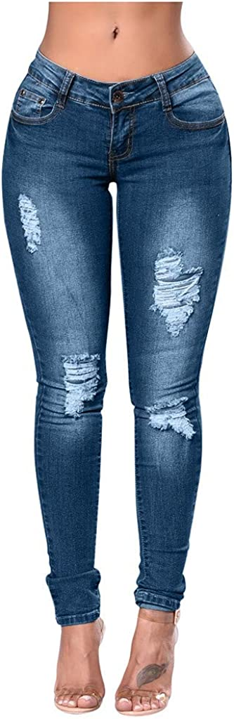 Skinny Jeans for Women,Women's Mid Waisted Ripped Hole Denim Stretch Slim Pants Calf Length Jeans Pencil Pants