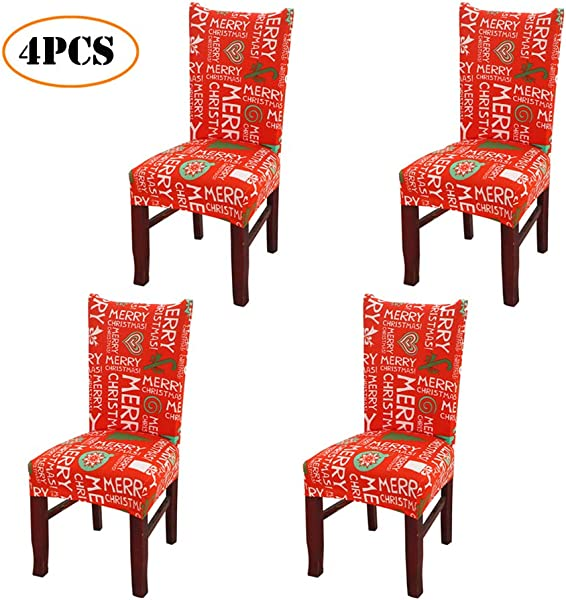 Merry Christmas Spandex Stretch Dining Room Chair Covers Kitchen Chair Covers Christmas Decoration Festive Favor For Holiday Party Festival Halloween Kitchen Dining Room Chairs Merry Christmas 4PCS