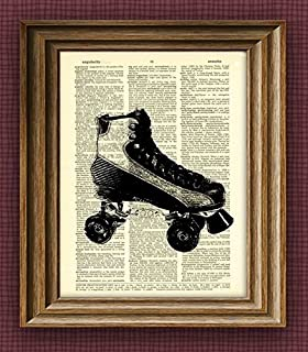 Roller Derby Skate Beautifully Upcycled Vintage Dictionary Page Book Art Print